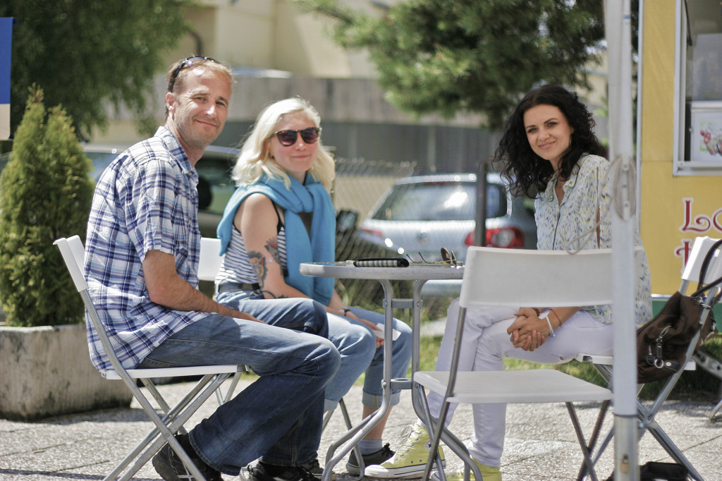 Eating at Loving Hut: (from left) Jonathan, Katana, Nina