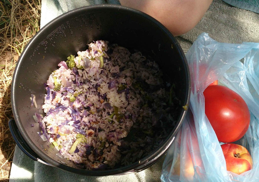 Fried rice with cabbage, cold leftovers for lunch