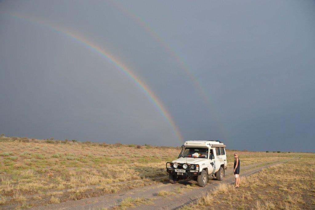 Double rainbow on the pans