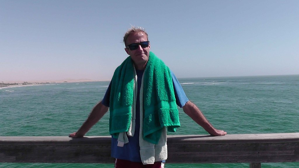 Jonathan on the pier in Swakopmund