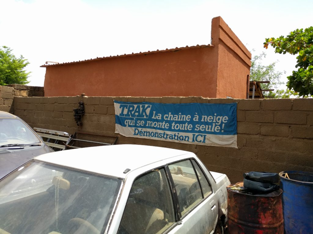 Snow Chain Demos at a garage in Burkina Faso...?