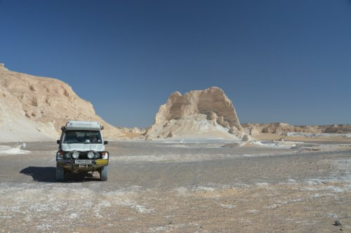 Leaving the White Desert...by driving off-tracks on a compass heading to intercept the road...