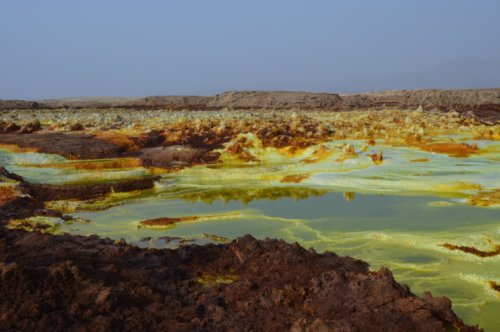 Dallol - sulphur and acid growing structures like coral.