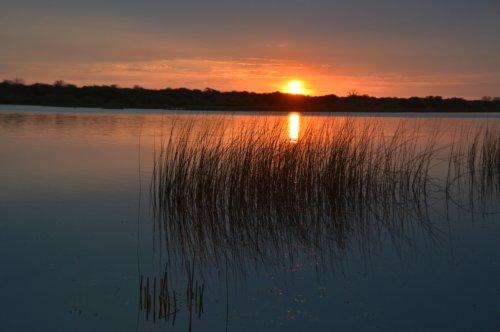 Sunset at Drifters Campsite, Boteti River, Botswana